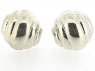 Italiaans fashion oorclip korf in glanzend zilver uitvoering