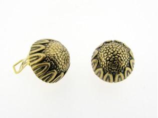 Italiaans fashion oorclip ronde cabuchon in bloem goudbrons uitvoering