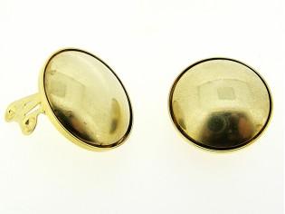 Italiaanse fashion oorclip mat gouden cabuchon gezet in gouden chaton