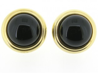 Italiaans fashion oorclip ronde zwarte cabuchon in goudglans gezette uitvoering
