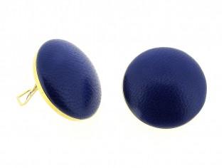 Lederen Italiaanse fashion oorclip, cabuchon bekleed met kobalt blauw lederen lams nappa en gezet in gouden chaton
