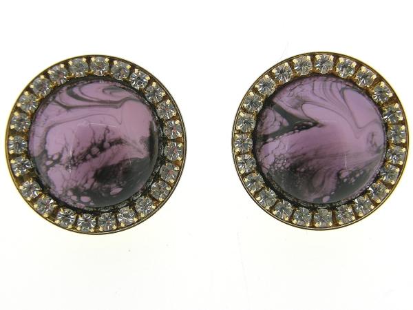 italiaans fashion oorclip met purple zwart gevlekte cabuchon omrand met Swarovski kristallen gezet in goud metalen chaton