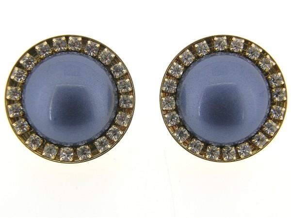 italiaans fashion oorclip met blauwe cabuchon omrand met Swarovski kristallen gezet in goud metalen chaton
