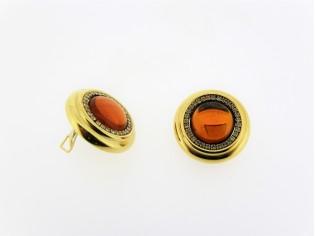 Italiaans fashion oorclip met topaas kristallen cabuchon omrand met Swarovsko kristallen gezet in gouden chaton