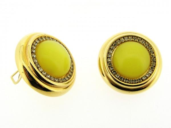 Italiaans fashion oorclip met subtiel geel kristallen cabuchon omrand met Swarovski kristallen gezet in gouden chaton