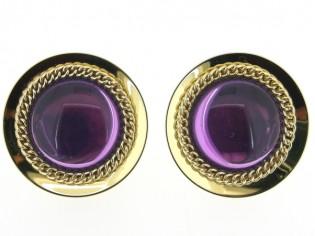 Italiaans fashion oorclip met purple cabuchon omrand met ketting en gezet op goud metalen chaton