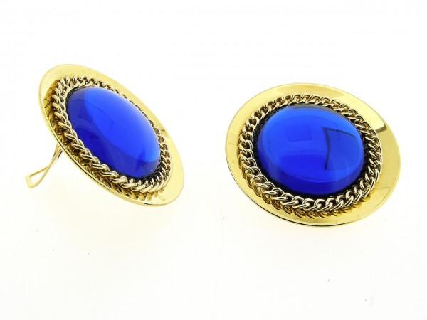 Italiaans fashion oorclip met blauwe cabuchon omrand met ketting en gezet op goud metalen chaton