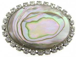 Broche met Mother of pearl omrand met Swarovski kristallen