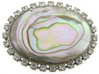Broche met Mother of pearl omrand met Swarovski kristallen