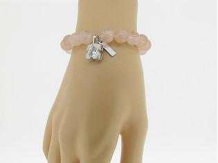 Armband met Roze kwarts edelstenen en zirkonium bedeltje.