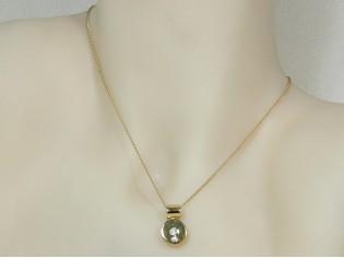 Gouden ketting met hangertje pendant rond met zirconia steentjes