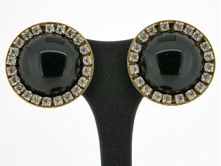 Italiaanse fashion oorclip zwarte cabuchon omrand met Swarovski kristallen gezet in gouden chaton