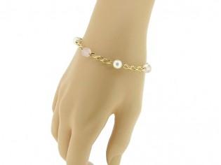 Gouden armbandje met parels en roze kwarts edelstenen