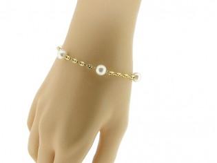 Gouden armbandje met met geschakeldezuidzee parels