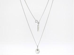 Zilveren gourmet ketting met heldere Swarovski kristallen hangertje