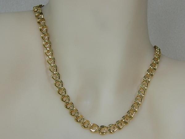 Gouden halsketting cocktail ring schakel collier met open ringetjes