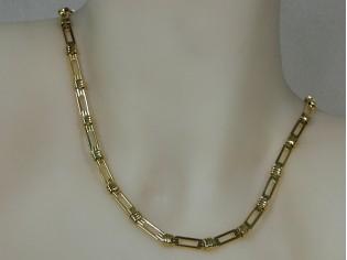 Gouden halsketting fantasie schakel mode ketting