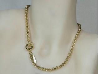 Gouden halsketting jasseron schakel collier met grote elegante sluiting