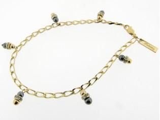 Gouden enkelbandje met kristallen en hematiet edelsteentjes aan gourmet kettinkje
