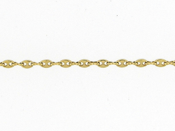 Gouden enkelbandje met kleine fantasie anker schakeltjes