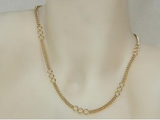 Gouden halsketting fantasie gourmet schakel ketting
