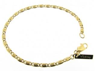 Gouden armbandje met fantasie dunne konings schakeltjes