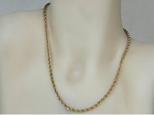 Gouden halsketting koord collier diamant gefacetteerd geslepen