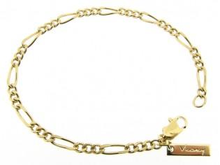 Gouden armbandje met figaro schakeltjes aan beiden zijden vlak geslepen