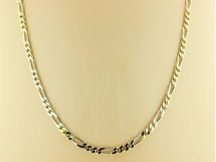 Gouden halsketting figaro collierbeiden zijden vlak gediamanteerd geslepen