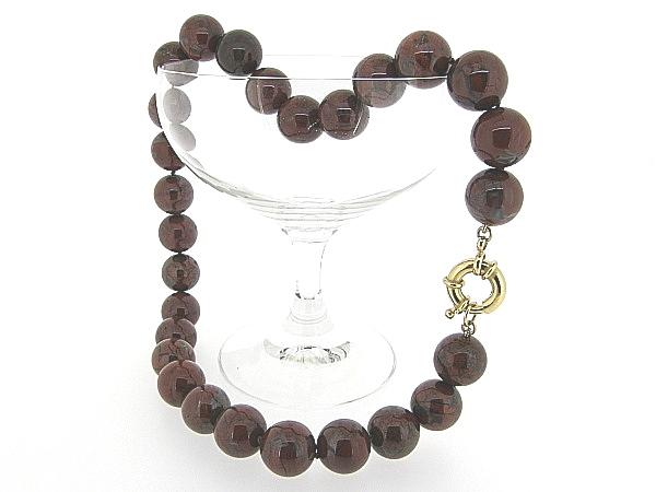 Hoogglanzende Brekzien Jaspis handgeknoopte edelsteen collier
