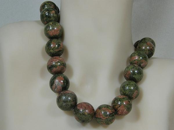 Hoogglanzende Unakiet handgeknoopte edelsteen collier
