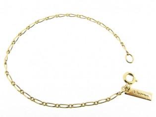 gouden armbandje met mini fantasie figaro ketting met kleine schakeltjes
