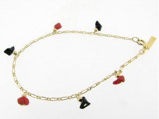 Gouden enkelbandje met mini fantasie figaro kettinkje en rode en zwarte steentjes