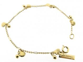Gouden armbandje met fantasie figaro schakeltjes en kleine schelpjes