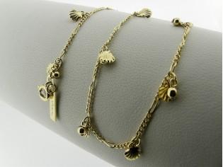 Gouden halsketting fantasie figaro ketting met kleine schelpjes