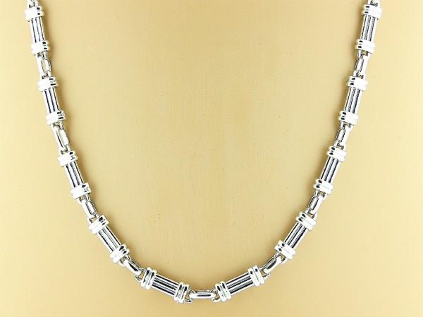 Zilveren fantasie mode collier met Franse schakeltjes