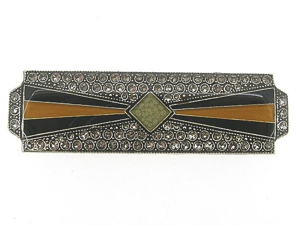 Art Deco broche met geel zwart ingekleurd emaille en ingelegde Swarovski kristallen