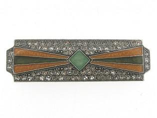 Art Deco broche met Swarovski kristallen ingelegd