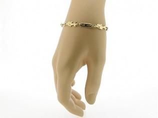 Gouden armbandje met fantasie dolfijntjes geschakelde ketting