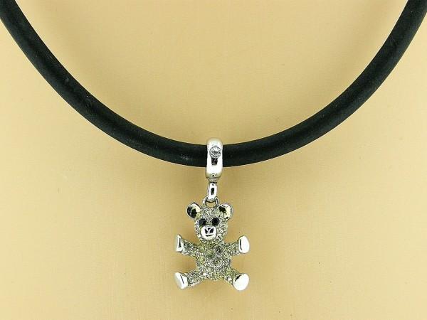 Collier met zilveren hangertje, beertje met swarovski kristallen ingelegd