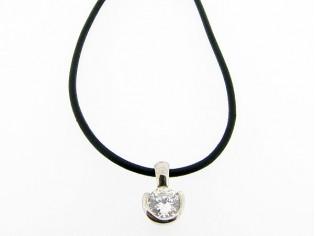 Lederen collier met zirconia steen in hoogglanzend Sterling zilveren hangertje