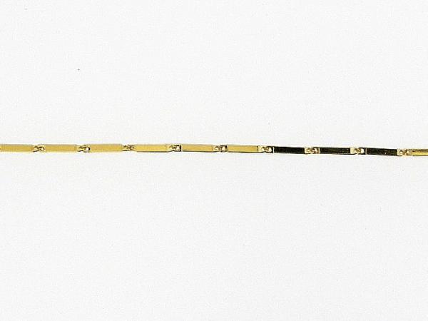 Gouden enkelbandje met vierkante staafjes schakeltjes