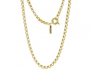 Gouden halsketting jasseron schakel collier met vast dubbel oog