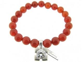 Armband met Carneool edelstenen en zilver bedeltje