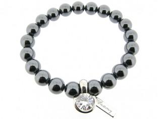 Armband met Hematiet edelstenen en zilver bedeltje