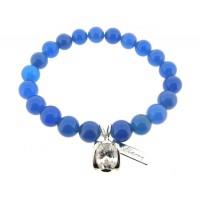 Armband met Blauwe Agaat edelstenen en grote zirkonium steen in Sterling zilver bedeltje gezet
