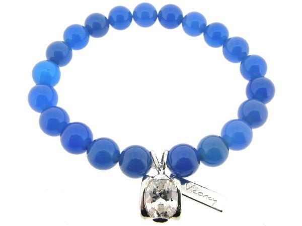Rekarmband met blauwe Agaat edelstenen en Sterling zilver bedeltje.