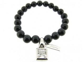 Armband met Onyx edelstenen en zirkonium bedeltje.