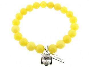 Armband met Gele Jade edelstenen en zilver bedeltje