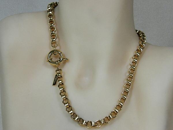 Gouden halsketting grote jasseron schakel collier met vast dubbel oog